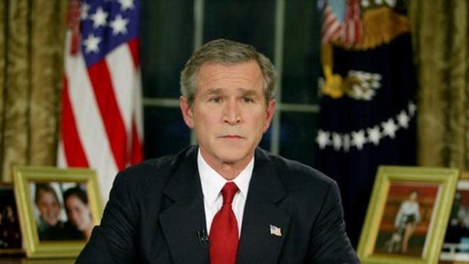 Presiden Amerika Serikat George W Bush umumkan dimulainya invasi ke Irak 19 Maret 2003 (Public Domain)