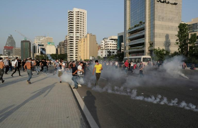 Lebanese protesters also clashed with riot police