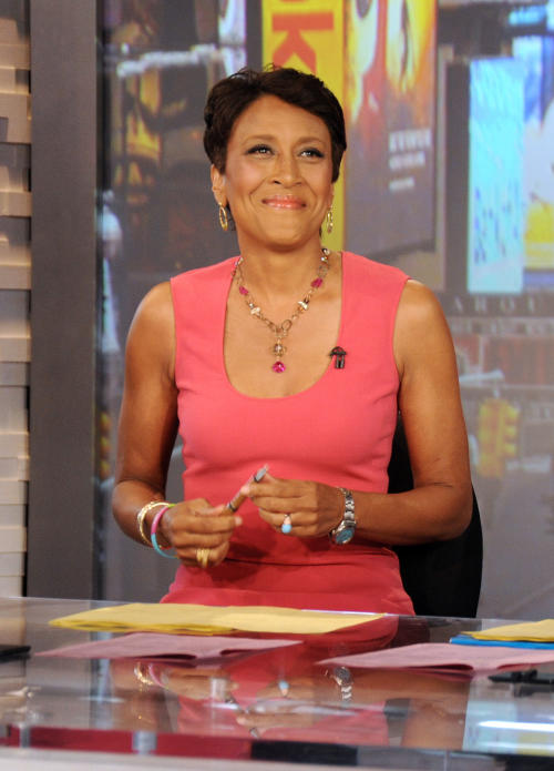 "This Aug. 20, 2012 photo released by ABC shows co-host Robin Roberts during a broadcast of ""Good Morning America,"" in New York. On Monday's edition of the ABC News wakeup program, Roberts made official the start date for what's being called her ""extended medical leave."" Roberts told viewers in July that she has MDS, a blood and bone marrow disease once known as preleukemia. She says she will be hospitalized next week to prepare for the bone marrow transplant that will take place about 10 days after that. (AP Photo/ABC, Donna Svennevik)"