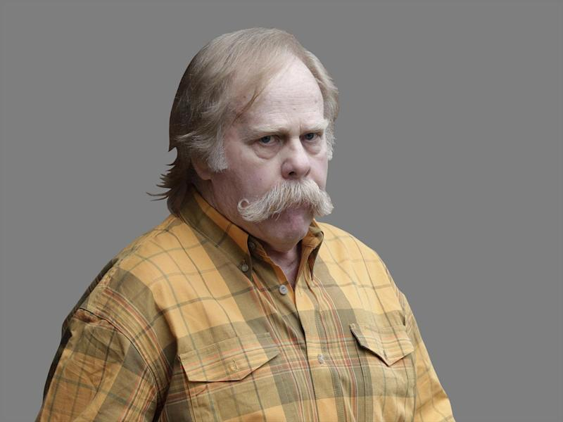 Harvey Updyke headshot, is released after serving prison sentence for unlawful damage of an animal or crop facility for poisoning Toomer's Corner oak trees at Auburn University, Opelika, Alabama, graphic element on gray