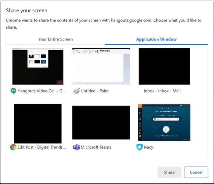 Google Hangouts Screen Sharing options