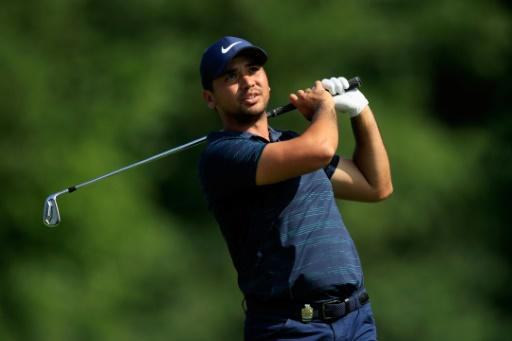 Jason Day of Australia plays his shot from the 13th tee during the third round of the 2018 PGA Championship in St Louis, Missouri