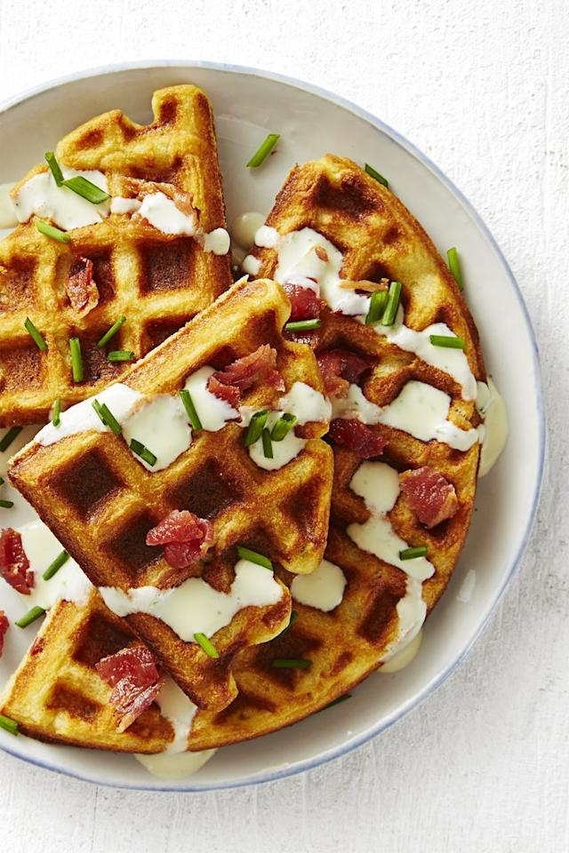"""<p>If you usually cover your waffles in powdered sugar and maple syrup, you're missing out — savory waffles with bacon and (believe it or not) ranch dressing makes and amazing breakfast.<br></p><p><em><a href=""""https://www.goodhousekeeping.com/food-recipes/a45223/savory-bacon-chive-waffles-recipe/"""" target=""""_blank"""">Get the recipe for Savory Bacon Chive Waffle »</a></em></p>"""