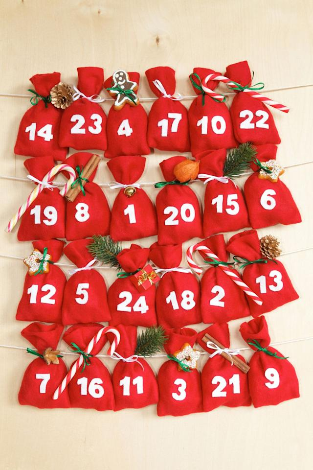 """<p>Buy an advent calendar based on your kids' favorite activities and watch as they get a new goodie each day. But it's even more fun to make your own. Fill <a href=""""https://go.redirectingat.com?id=74968X1596630&url=https%3A%2F%2Fwww.etsy.com%2Flisting%2F472572664%2F24-x-christmas-advent-calendar-tree&sref=https%3A%2F%2Fwww.goodhousekeeping.com%2Fholidays%2Fchristmas-ideas%2Fg23601545%2Fchristmas-traditions-kids-family%2F"""" target=""""_blank"""">24 bags</a>, boxes or drawers with love notes, candy, small toys or ideas for good deeds they can do that day to spread good cheer. Or, keep <a href=""""https://www.goodhousekeeping.com/holidays/christmas-ideas/g2747/christmas-tree-decorations-ideas/"""" target=""""_blank"""">special ornaments</a> aside in a box and add a new one to the tree each morning! </p><p><em><a href=""""https://www.goodhousekeeping.com/childrens-products/toy-reviews/g28939299/toy-advent-calendars-for-kids/"""" target=""""_blank""""> Get ideas for advent calendars »</a></em></p>"""