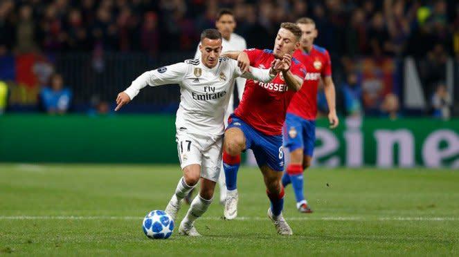 Pemain Real Madrid, Lucas Vazquez saat hadapi CSKA Moscow
