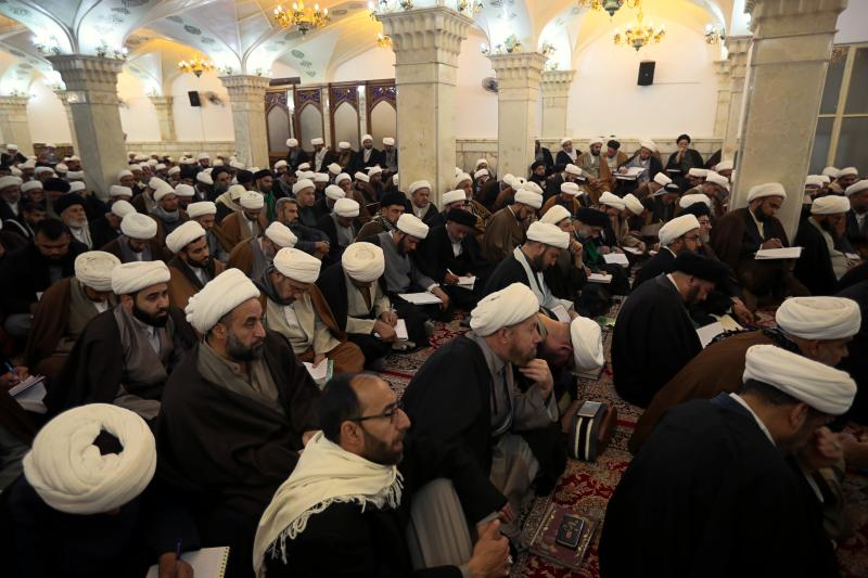 "In this Sunday, Feb. 2, 2020, Shiite seminary students attend a lecture at ""Hawza"" seminary, in the holy shrine of Imam Ali, the son-in-law, and cousin of the Prophet Muhammad and the first Imam of the Shiites, in Najaf, Iraq. Grand Ayatollah Ali al-Sistani, Iraq's top Shiite cleric, turns 90 this year, and when he recently had surgery it sent chills around the country and beyond. What happens when al-Sistani is gone? Iran is likely to try to exploit the void to gain followers among Iraq's Shiites. Standing in its way is the Hawza, the centuries-old institution of religious learning which al-Sistani heads and which follows its own tradition-bound rules. (AP Photo/Hadi Mizban)"