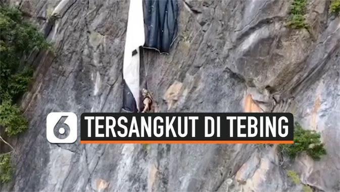 VIDEO: Penerjun Payung Tersangkut di Tebing Setinggi 820 Kaki