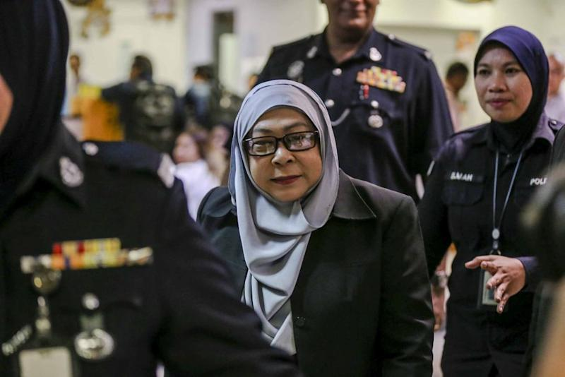 Lawyer Mohd Khairul Azam Abdul Aziz said his client, Datuk Hasanah Abdul Hamid (pic), had merely forgotten to be present in court when her criminal case came up for case management this morning. — Picture by Firdaus Latif