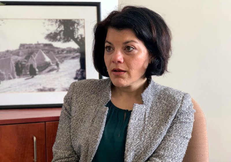 Tamara Alrifai, UNRWA Spokesperson, speaks during an interview with Reuters in Amman