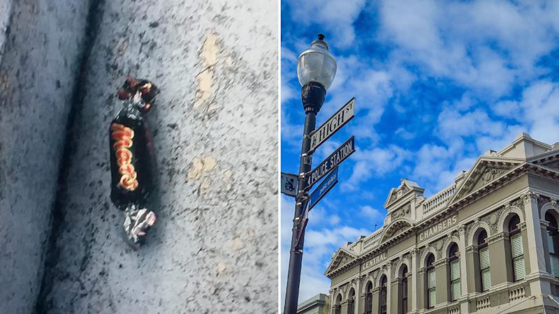 Photo shows one of the contaminated chocolates found in Fremantle, and (right) the Central Chambers building on High Street, Fremantle.