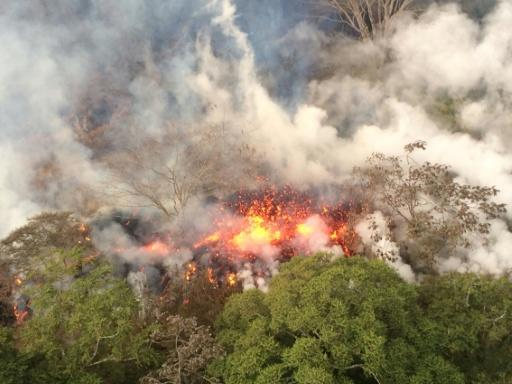 Lava from the Kilauea Volcano burns vegetation between two fissures on Hawaii's Big Island on May 16, 2018