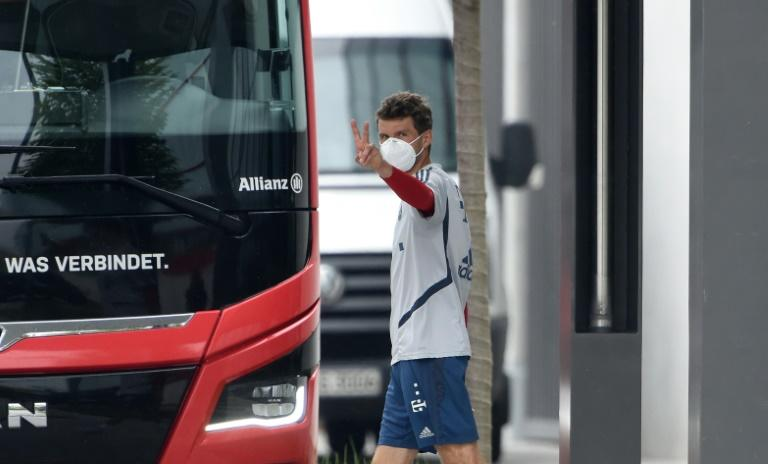 Bayern Munich forward Thomas Mueller pictured leaving a training session ahead of the Bundesliga's return this weekend