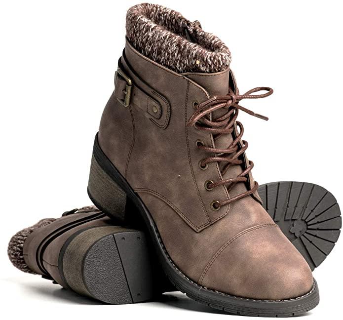 DLG Womens Natasha Faux Leather Warm Fur Lined Boot. Image via Amazon.