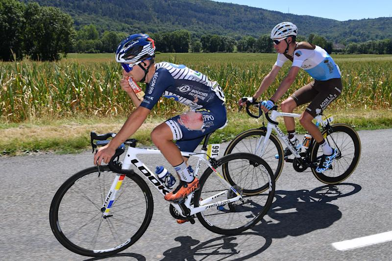 CEYZERIAT FRANCE AUGUST 07 Rmy Rochas of France and Team Nippo Delko Provence Feed Zone Aurlien ParetPeintre of France and Team Ag2R La Mondiale during the 32nd Tour de LAin 2020 Stage 1 a 140km stage from MontralLaCluse to Ceyzriat 304m tourdelain TOURDELAIN TDA on August 07 2020 in Ceyzeriat France Photo by Justin SetterfieldGetty Images