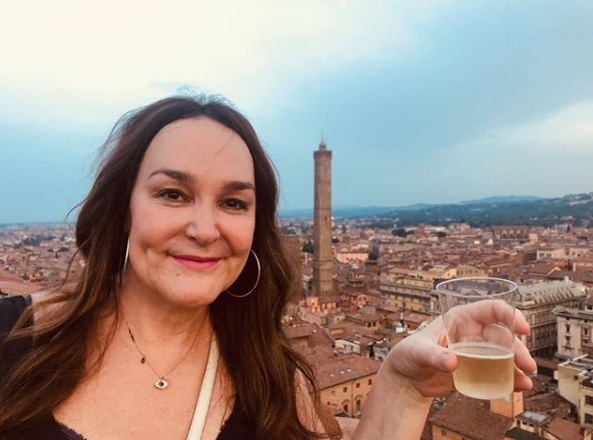A selfie of radio host Kate Langbroek overlooking the city of Bologna, Italy.