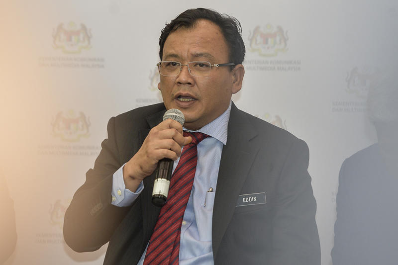 Eddin Syazlee Shith speaks after launching Safer Internet Day 2019 in Putrajaya February 13, 2019. — Picture by Miera Zulyana