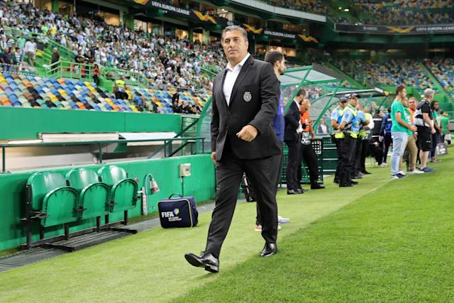 葡萄牙里斯本-2018/09/20:体育CP经理在体育CP与Karaba FC之间的UEFA欧罗巴联赛2018/19足球比赛中的行动中,乔斯©Peseiro。 (最终比分:Sporting CP 2-0 Karaba FC)。 (照片由David Martins / SOPA Images / LightRocket via Getty Images)