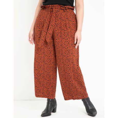 ELOQUII Elements Women's Plus Size Printed Ruffle Waist Pant (Photo via Walmart)