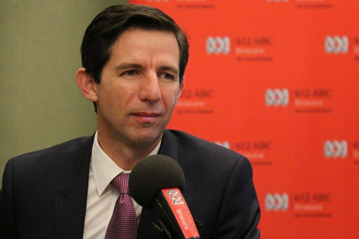 Federal Education Minister Simon Birmingham in the 612 ABC Brisbane studio