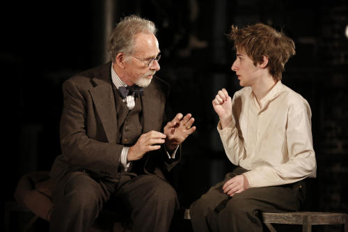 "This theater image released by The Public Theater shows Ron Rifkin, left, and Noah Robbins in ""The Twenty-Seventh Man,"" running at The Public Theater at Astor place in New York through Dec. 9. (AP Photo/The Public Theater, Joan Marcus)"