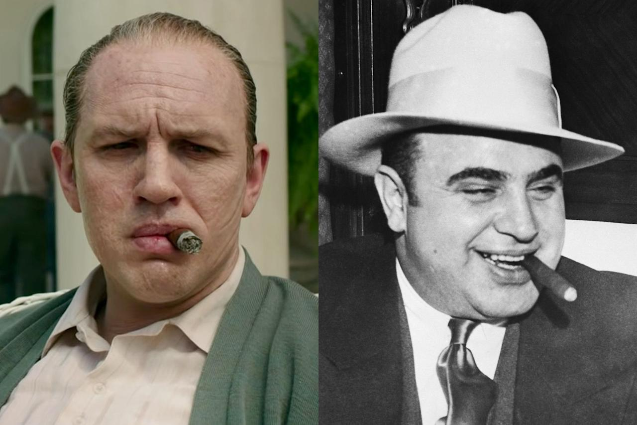 """<p>Though it's inspired by a true story, you shouldn't believe everything you see in <em>Capone</em>. That's because this take on the notorious gangster follows the final year of his life, and digs into the frenzied mind of a man who was incapacitated by neurosyphilis. As such, <em>Capone</em> is filled with hallucinations, ghosts of the past, and imagined musical numbers. """"The way I like to put it is, the movie itself has dementia,"""" <a href=""""https://www.esquire.com/entertainment/movies/a32438213/al-capone-tom-hardy-transformation-director-josh-trank-interview/"""" target=""""_blank"""">as director Josh Trank told Esquire</a>. But that's not to say the entire film is a work of fiction. Much of it is <a href=""""https://www.esquire.com/entertainment/movies/a32439185/al-capone-dementia-syphilis-treasure-true-story/"""" target=""""_blank"""">inspired by a little-known era of Capone's life</a>, and while some characters are composites of actual people, many of the faces we see in this film are real historical figures from the gangster's orbit—like his wife Mae Capone played by Linda Cardellini and their son played by Noel Fisher.</p><p>Below, see how the cast of <em>Capone</em> compares to the actual real life people who inspired the new movie.</p>"""