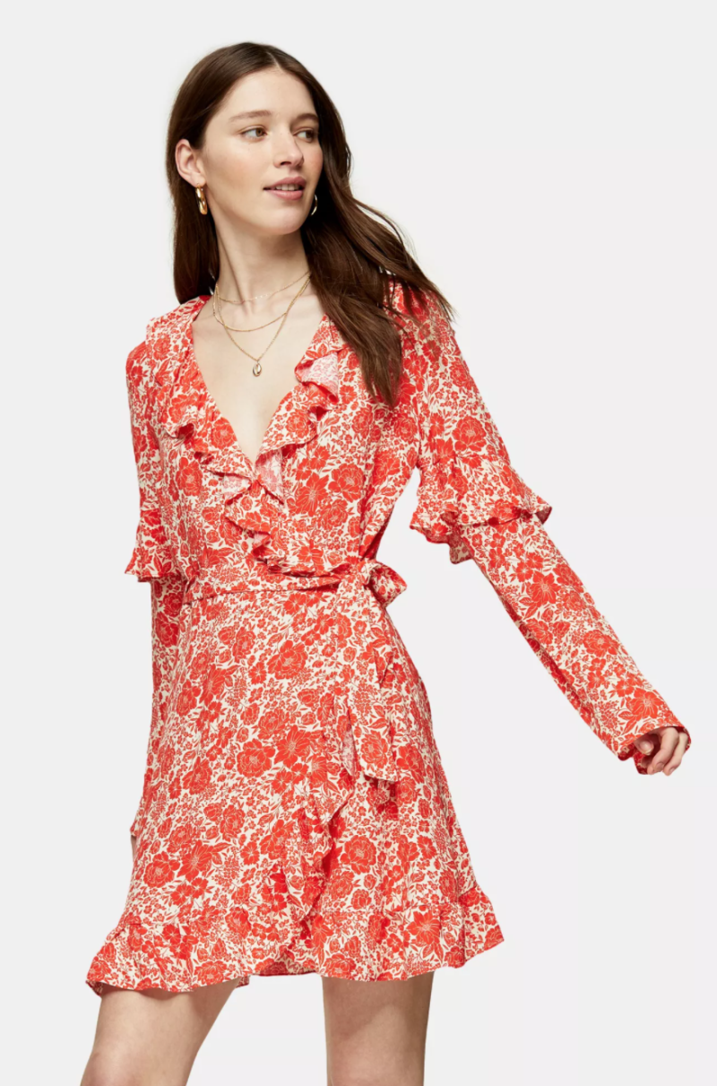 Red Ruffle Wrap Dress. Image via Topshop.
