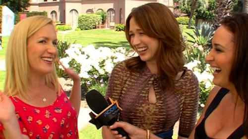 Angela Kinsey and Ellie Kemper speak with AccessHollywood.com's Laura Saltman, April 2013 -- Access Hollywood