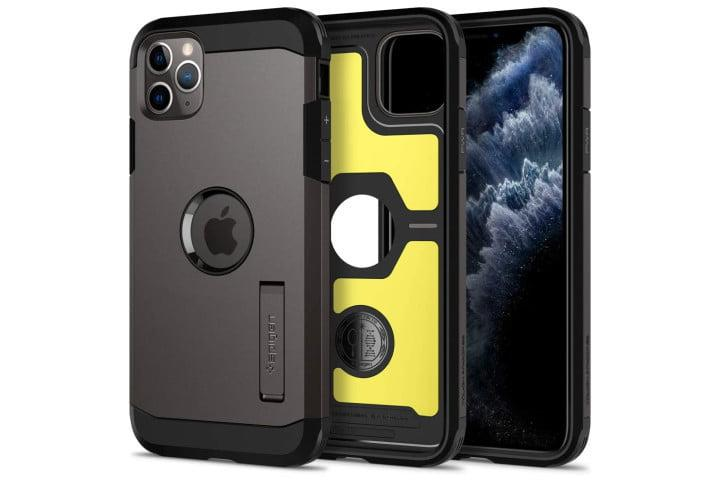 Photo shows an iPhone 11 Pro phone in a gunmetal grey Tough Armor case from Spigen