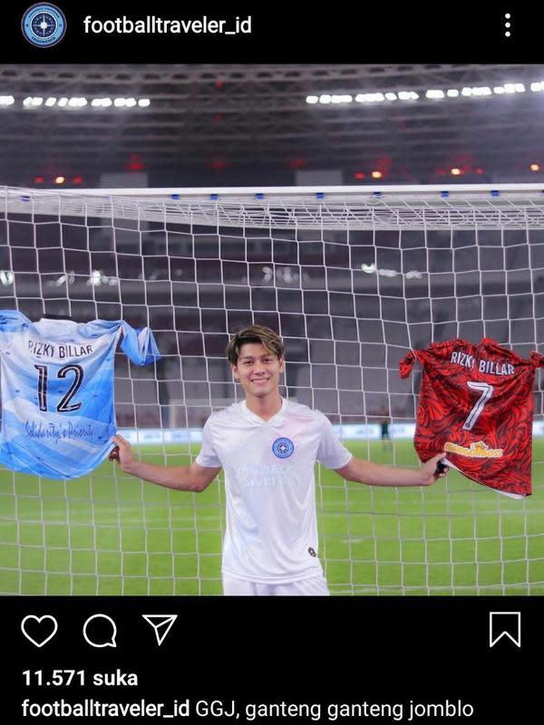 Komentar Lutfi Agizal di unggahan foto Rizky Billar. (Instagram.com/footballtraveler_id)