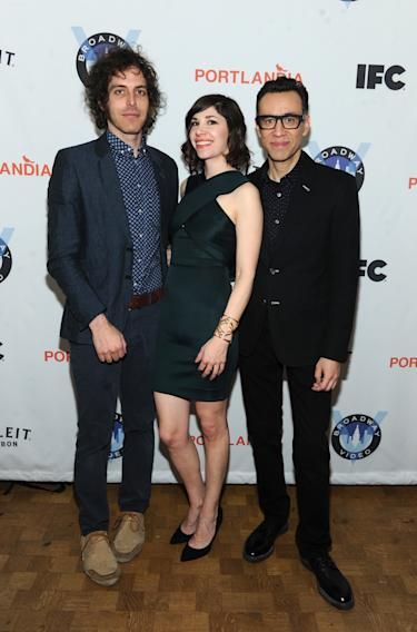 IMAGES DISTRIBUTED FOR IFC - Portlandia Director Jonathan Krisel, Carrie Brownstein and Fred Armisen attend the Portlandia Season 4 Premiere Party on Thursday, February, 27, 2014 in New York. (Photo by Diane Bondareff/Invision for IFC/AP Images)