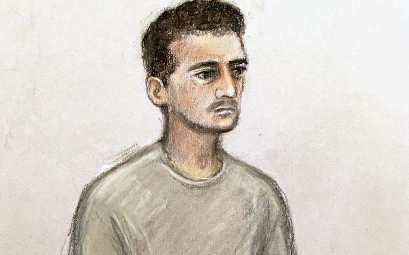 Court artist sketch of 18-year-old Danyal Hussein - PA/Elizabeth Cook