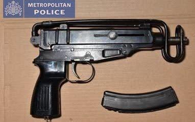 A Scorpion machine gun seized