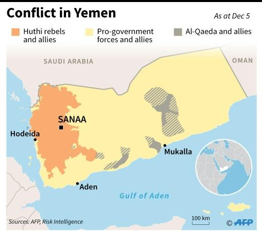Map showing territorial control in Yemen as of December 5