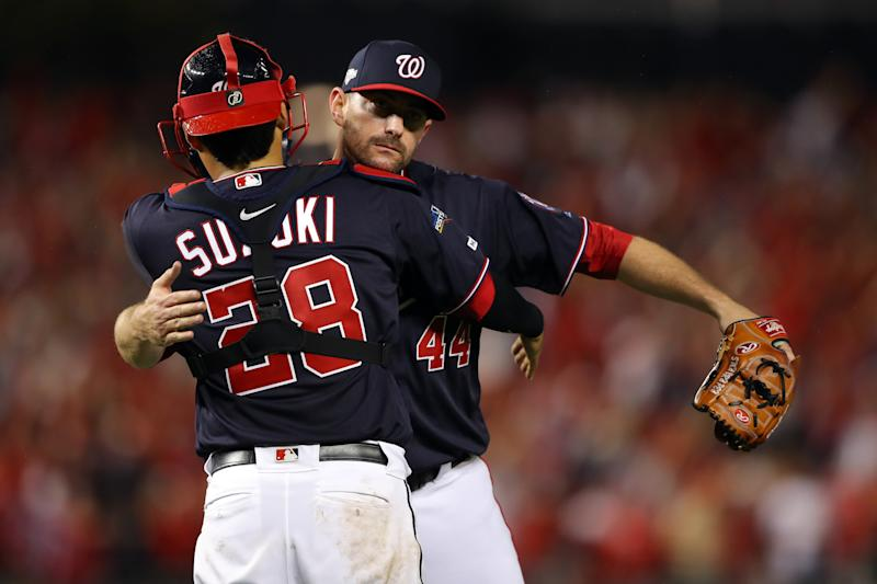 Nationals reliever Daniel Hudson (44) was there for the birth of his third child, regardless what social media thought of it. (Getty)