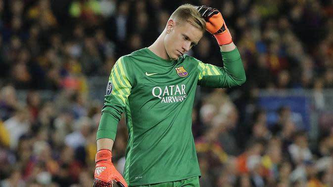 Kiper Barcelona, Marc-Andre ter Stegen, baru akan habis kontraknya pada Juni 2022. (AFP/PAU BARRENA)