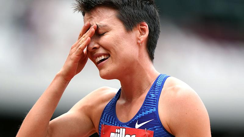 Catriona Bisset couldn't believe her achievement after breaking the Aussie record. (Photo by John Walton/PA Images via Getty Images)