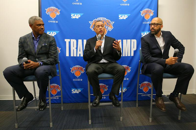 Sep 30, 2019; New York, NY, USA; New York Knicks president Steve Mills (left to right) and New York Knicks general manager Scott Perry and New York Knicks head coach David Fizdale speak to the media during media day at the MSG training center in Greenburgh, NY. Mandatory Credit: Brad Penner-USA TODAY Sports