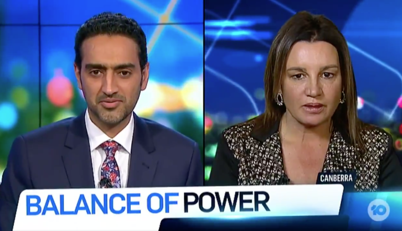 Waleed Aly and Jacqui Lambie clash on the the Channel 10 show. Source: The Project