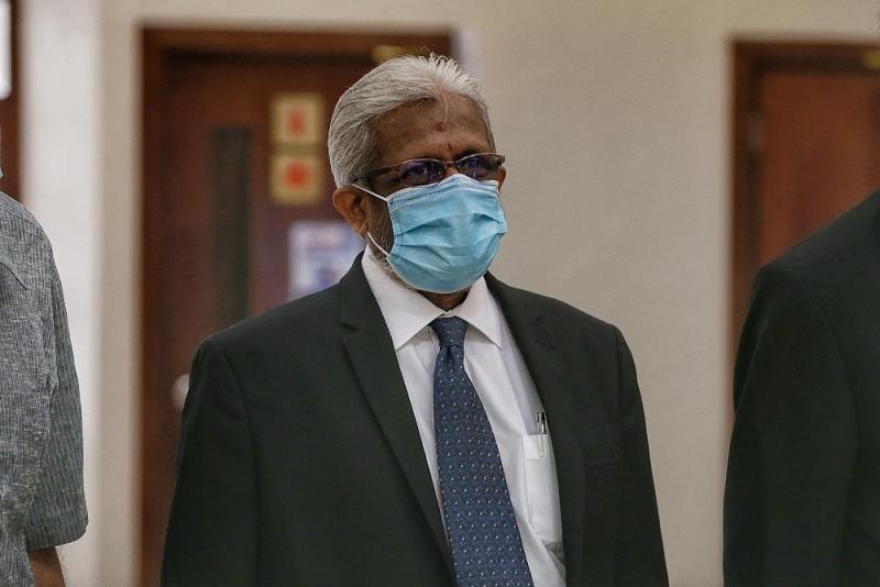 Lawyer Muralidharan Balan Pillai is pictured at the Kuala Lumpur Court Complex August 12, 2020. ― Picture by Ahmad Zamzahuri