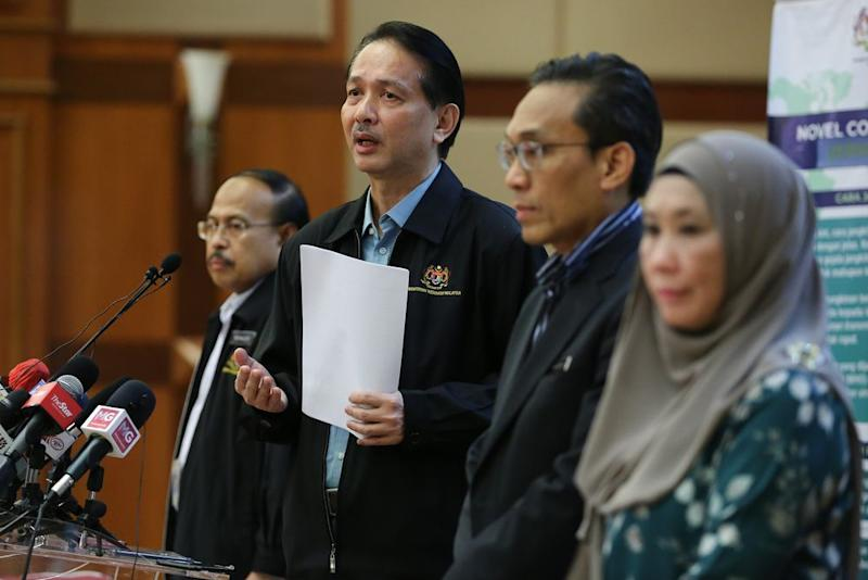 Health director-general Datuk Dr Noor Hisham Abdullah giving a press conference at the Health Ministry in Putrajaya, April 4, 2020. — Picture by Yusof Mat Isa