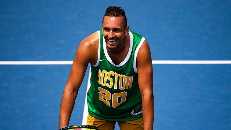Nick Kyrgios of Australia in action during a practice session before the start of the US Open at USTA Billie Jean King National Tennis Center on August 20, 2019 in New York City. (Photo by TPN/Getty Images)