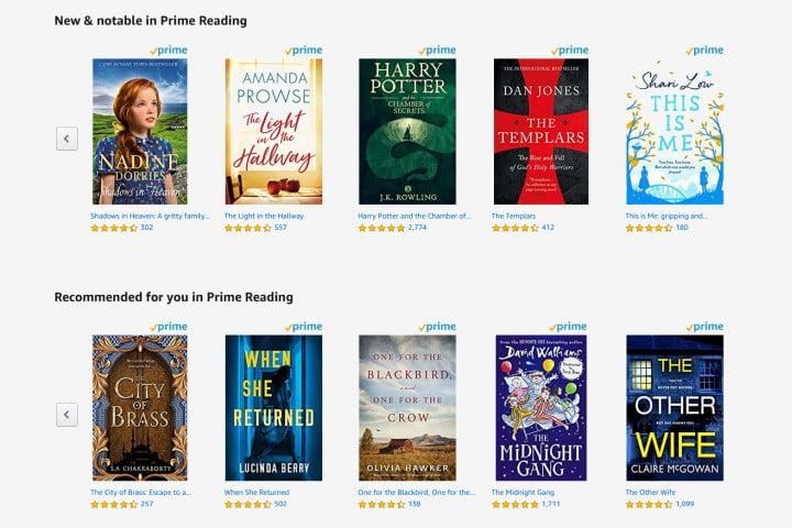 Picture of the available books in the Amazon Prime Reading catalog