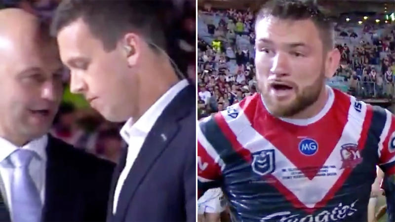James Bracey, pictured here double-checking with Todd Greenberg before Jared Waerea-Hargreaves was told.