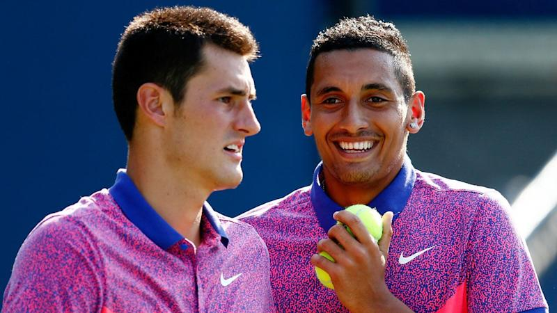 Nick Kyrgios and Bernard Tomic will this week play doubles together in an official match for the first time since 2014. Pic: Getty