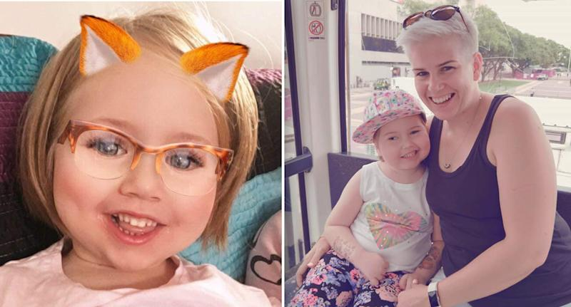 Paige Skarratts ,pictured left and right with mum Tania, has passed away one year after she was diagnosed with a brain tumour. Image: Facebook/Love & Hope 4 Paige