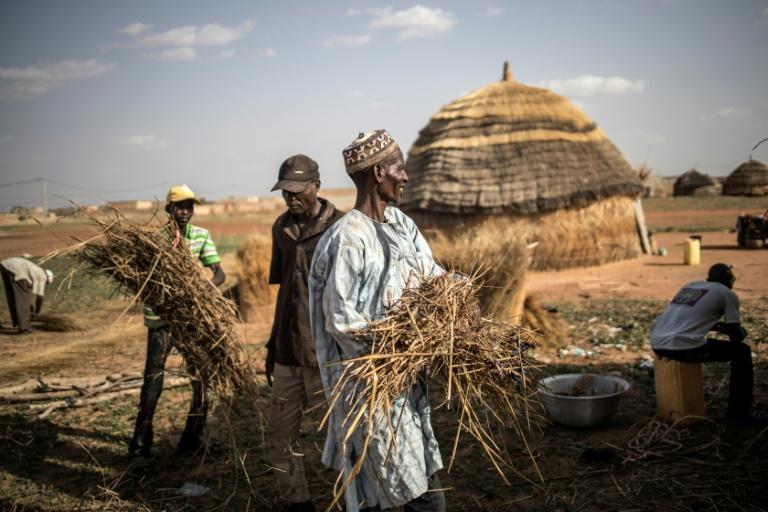Men rebuild a hut at a camp in Dosso. The nomadic lifestyle is highly vulnerable to climate change, especially altered rainfall patterns