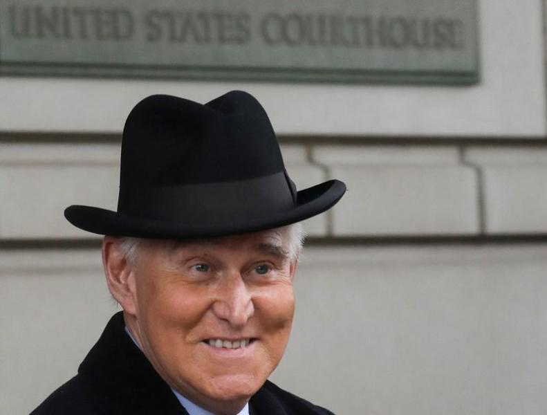 Former Trump campaign adviser Roger Stone departs following sentencing at U.S. District Court in Washington
