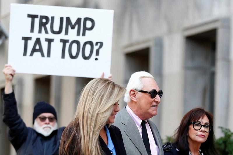 Roger Stone arrives for his first day of his criminal trial at U.S. District Court in Washington