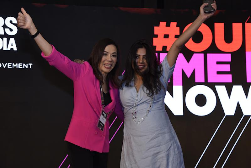 Rose Tsou, Head of international, Verizon Media (L) and Shradha Sharma, Founder and CEO, YourStory, at the launch of MAKERSIndia on October 4, 2019, in New Delhi.