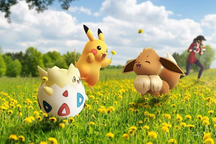 Togepi, Pikachu and Eevee in a field